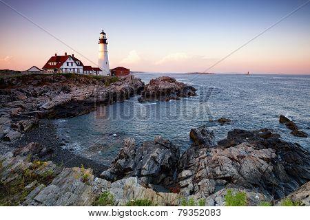 The Portland Head Lighthouse at dusk. Cale Elizabeth, Maine, USA
