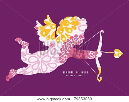 Vector pink field flowers shooting cupid silhouette frame pattern invitation greeting card template