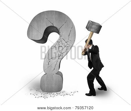Businessman Holding Hammer Cracked Question Mark Isolated On White