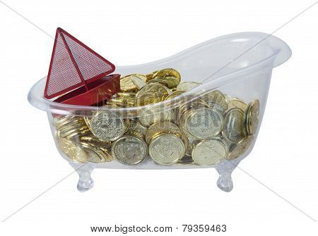 Bathtub Filled With Gold Coins And A Red Boat