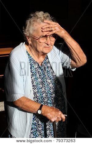 Burgundy, France - Circa August 2012:  Portrait Of Senior Unidentified  Woman.  Senior Woman In Glas