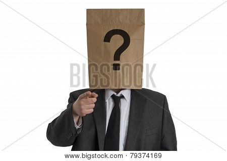 Man With Paper Bag With Question Mark On His Head Pointing Into The Camera
