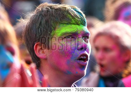 Portrait of the young man with paint on a face in Gatchina, the Leningrad region, Russia,29 Septembe