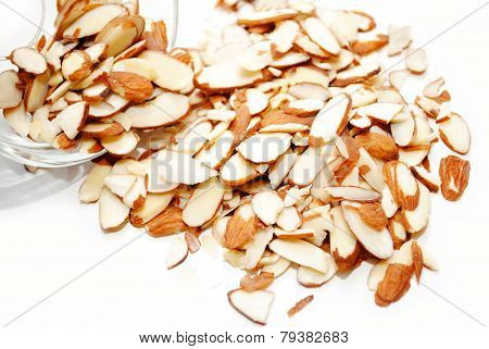 Slivered Almonds Spilled Out Of A Glass Bowl