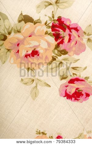 Cotton linen fabric texture with drawing flowers roses poster