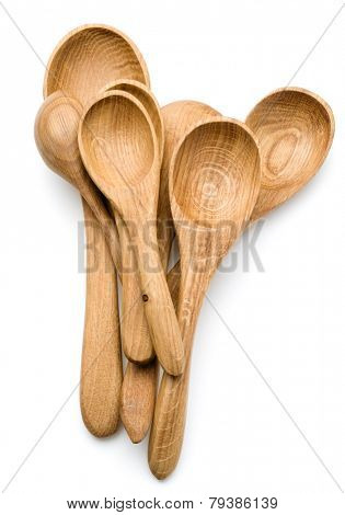Carving wooden spoon isolated on white background cutout