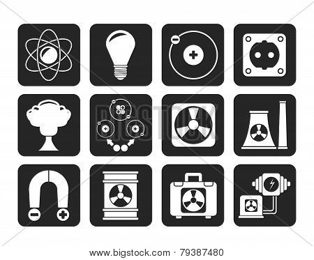 Silhouette Atomic and Nuclear Energy Icons
