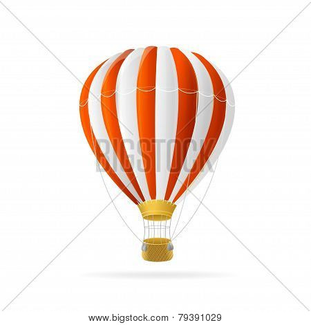 Vector white and red hot air ballon isolated