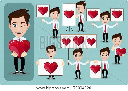 Set of vector cartoon man in love, with hearts. Stock Vector  Illustration
