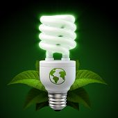 3d render of a glowing white energy saving light bulb surrounded by leafs poster
