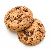 Chocolate cookies isolated on white background cutout poster