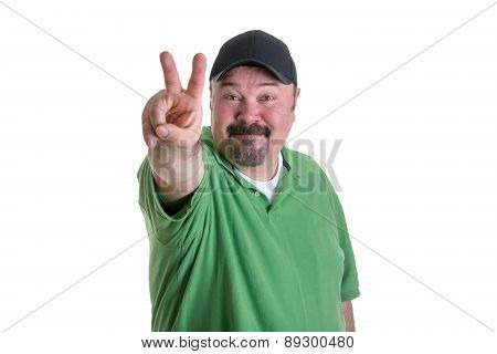 Man Giving Peace Sign Hand Gesture