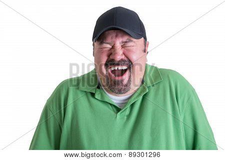 Portrait Of Ecstatic Man Wearing Green Shirt