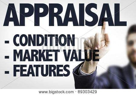 Business man pointing the text: Appraisal Description