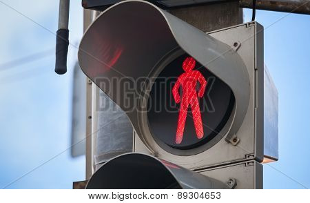 Modern Pedestrian Traffic Lights With Red Signal