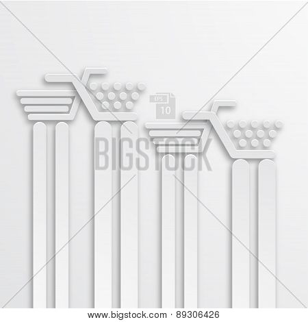Vector modern white shooping background.