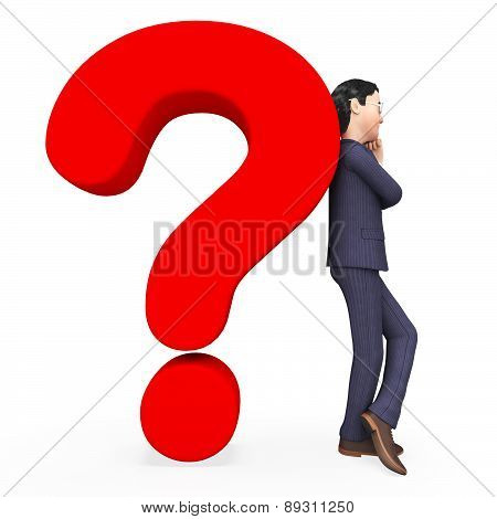 Confused Businessman Indicates Frequently Asked Questions And Answer