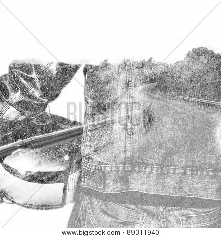 Double Exposure Of A Biker And A Winding Road