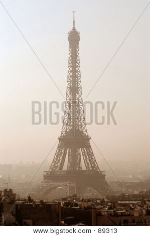 eiffel tower in paris, france (sepia filter) poster