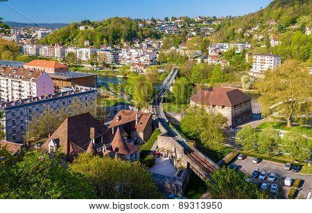 Railway Crossing The Doubs River In Besancon - France