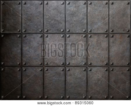 knight armor metal texture with rivets background