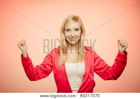 Fitness Woman Showing Fresh Energy Flexing Biceps Muscles