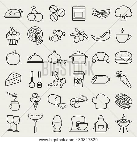 Food And Cooking Line Icons. Vector Set.