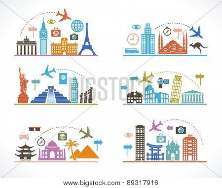 Set infographic design with travel icons and airplane. Flat design travel background. concept of traveling around the world. Famous international landmarks.