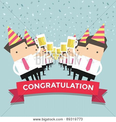 Businessman Congratulation party