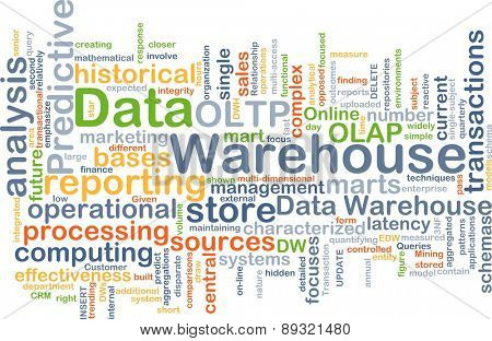 Background concept wordcloud illustration of data warehouse