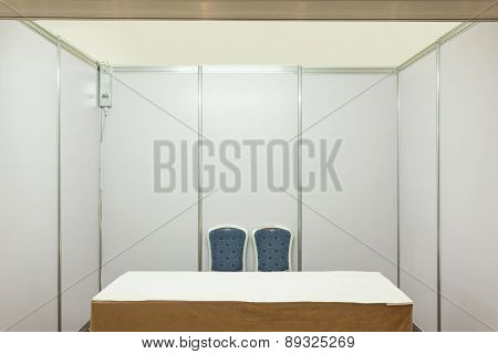 Booth with lighting inside the Trade show pavilion
