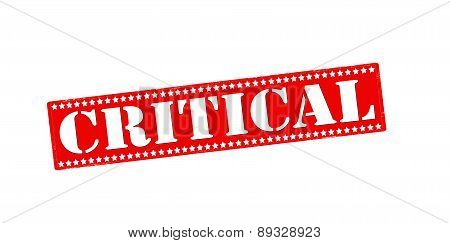 Rubber stamp with word critical inside vector illustration