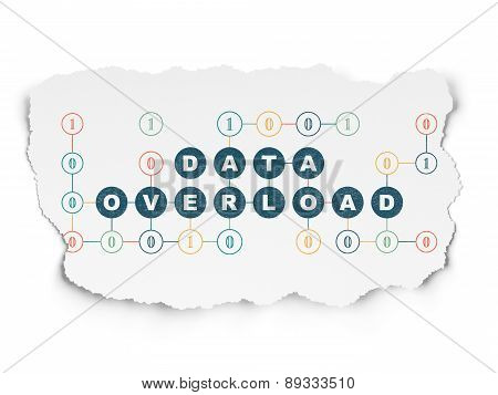 Information concept: Painted blue text Data Overload on Torn Paper background with Scheme Of Binary Code, 3d render poster