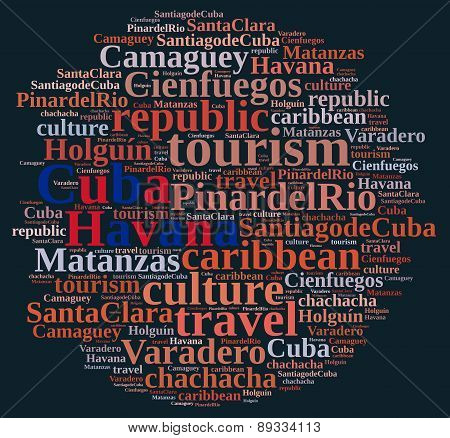 Word cloud about tourism on the island of Cuba. poster