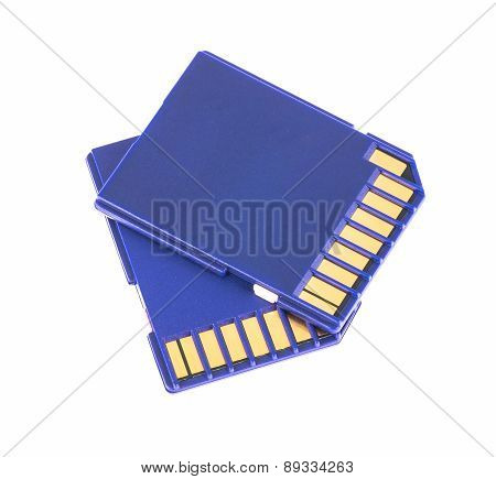Blue Memory Sd Card Isolated On White Background