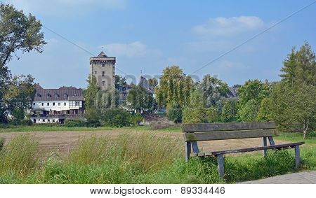 medieval Village of Zons at Rhine River in Rhineland near Duesseldorf,North Rhine Westphalia,Germany