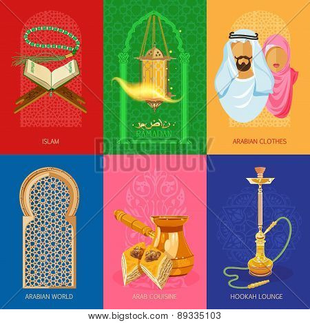 Arabic culture Icon Set on light background poster