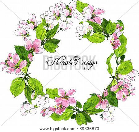 round wreath with spring tree flowers