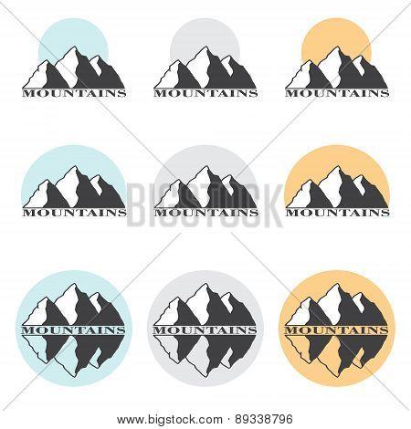 Stock Vector Illustration Mountains Set