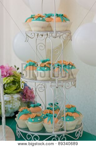 Cute candy bar with various candies and cakes poster