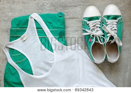 Overhead Of Essentials A Modern Woman. Outfit Casual.