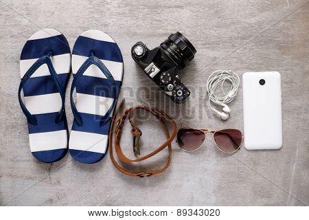 Summer Beach Accessories Slipper Camera Strap Sunglasses Mobile Phone Earphones