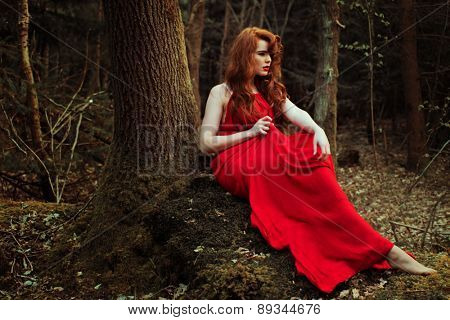 stylish Woman in red Dress Posing at the Woods