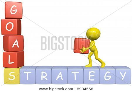 Goals Strategy 3D Cartoon Man Builds Business