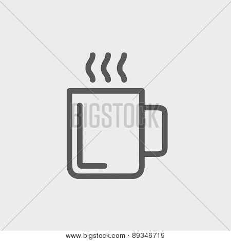 Mug of hot choco icon thin line for web and mobile, modern minimalistic flat design. Vector dark grey icon on light grey background.