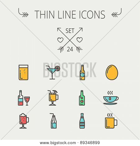Food and drink thin line icon set for web and mobile. Set includes - soda, wine, whisky, coffee, hot choco, beer, ice tea, egg  icons. Modern minimalistic flat design. Vector icon with dark grey
