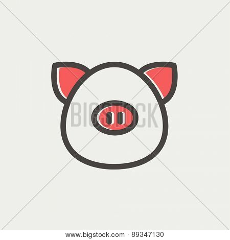 Pig face icon thin line for web and mobile, modern minimalistic flat design. Vector icon with dark grey outline and offset colour on light grey background.