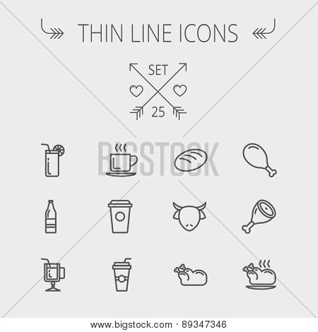 Food and drink thin line icon set for web and mobile. Set includes- coffee, soda, lime, juice, bread, poprk meat, chicken, cow, fried chicken icons. Modern minimalistic flat design. Vector dark grey