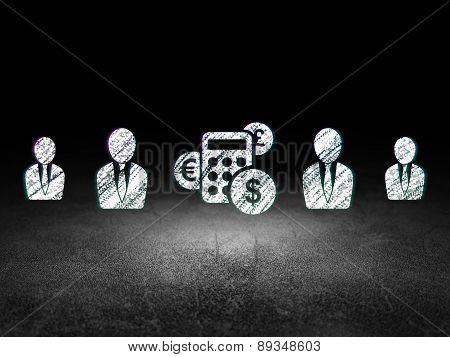 Business concept: calculator icon in grunge dark room