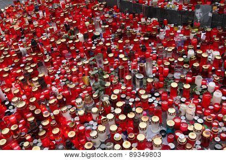 PRAGUE, CZECH REPUBLIC - DECEMBER 23, 2011: Candles alight in memoriam late Czech president Vaclav Havel in Wenceslas square in Prague, Czech Republic.